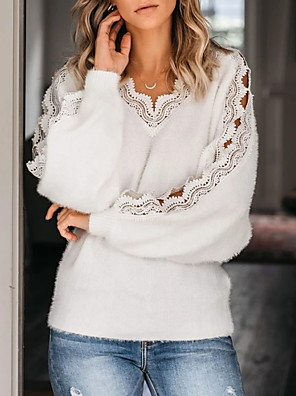 cheap Women's Blouses & Shirts-Women's Solid Colored Pullover Long Sleeve Sweater Cardigans V Neck White