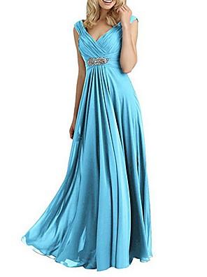 cheap Evening Dresses-A-Line Empire Blue Wedding Guest Formal Evening Dress V Neck Sleeveless Floor Length Chiffon with Crystals 2020