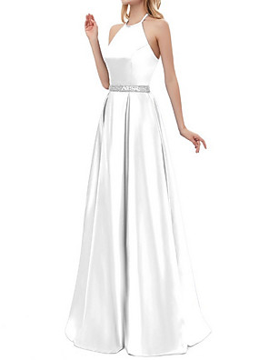 cheap Bridesmaid Dresses-A-Line Elegant Prom Formal Evening Dress Halter Neck Sleeveless Floor Length Polyester with Beading 2020