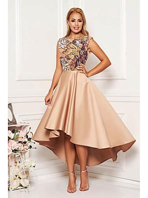 cheap Women's Dresses-Women's A-Line Dress Midi Dress - Sleeveless Floral Print Spring Fall Elegant Cocktail Party Khaki XL XXL XXXL