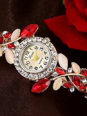 cheap Bracelet Watches-Women's Bracelet Watch Quartz Stylish Floral Style Flower Casual Watch Analog Blue Purple Red / One Year / Imitation Diamond / One Year