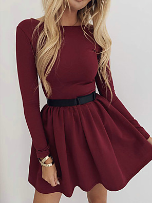 cheap Prom Dresses-Women's Sheath Dress - Long Sleeve Solid Colored Basic Daily Wear Wine Black Blue S M L XL