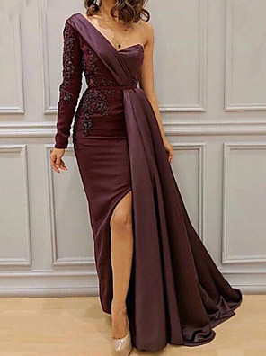 cheap Cocktail Dresses-Sheath / Column Furcal Formal Evening Dress One Shoulder Long Sleeve Floor Length Lace Satin with Sash / Ribbon Split Front 2020