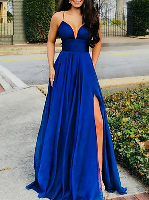cheap Prom Dresses-A-Line Sexy Blue Prom Formal Evening Dress Spaghetti Strap Sleeveless Sweep / Brush Train Chiffon with Split 2020