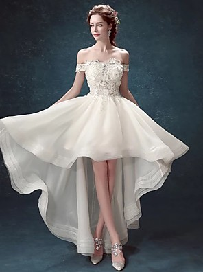 cheap Prom Dresses-A-Line Sexy Prom Formal Evening Dress Off Shoulder Short Sleeve Asymmetrical Lace Organza with Appliques 2020