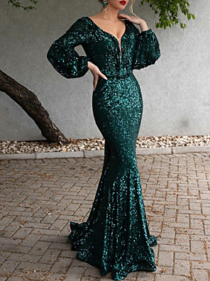 cheap Evening Dresses-Mermaid / Trumpet Open Back Formal Evening Dress Plunging Neck Long Sleeve Sweep / Brush Train Polyester with Sequin 2020