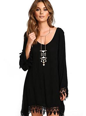 ieftine Bluze Damă-Pentru femei Rochie Shift Rochie mini - Manșon Lung Mată În V Mărime Plus Size Șic Stradă Purtare Zilnică Negru S M L XL XXL XXXL XXXXL XXXXXL