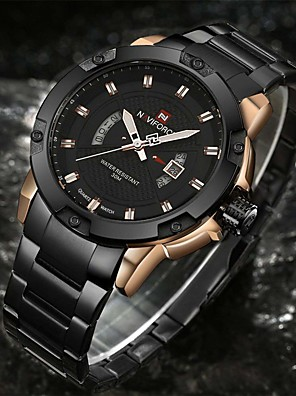 cheap Quartz Watches-NAVIFORCE Men's Sport Watch Military Watch Wrist Watch Quartz Charm Water Resistant / Waterproof Stainless Steel Black / Silver Analog - Black / Gold Black Silver / Black Two Years Battery Life