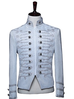 abordables Camisas de Hombre-Hombre Blazer, Un Color Escote Chino Poliéster Plata