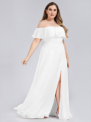 cheap Cocktail Dresses-A-Line Plus Size White Holiday Beach Dress Off Shoulder Short Sleeve Floor Length Chiffon with Ruffles Split 2020
