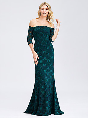 cheap Evening Dresses-Mermaid / Trumpet Elegant Formal Evening Dress Off Shoulder Half Sleeve Sweep / Brush Train Lace with 2020