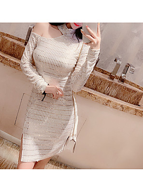 cheap Down to $2.99-Women's Bodycon Knee Length Dress - Long Sleeve Party Homecoming Silver S M L