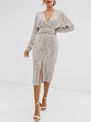 cheap Evening Dresses-Sheath / Column Sparkle & Shine Holiday Cocktail Party Dress Plunging Neck Long Sleeve Tea Length Sequined with Sash / Ribbon Split Front 2020