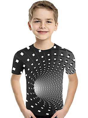 cheap Boys' Tops-Kids Toddler Boys' Active Basic Geometric Print Color Block Print Short Sleeve Tee Purple