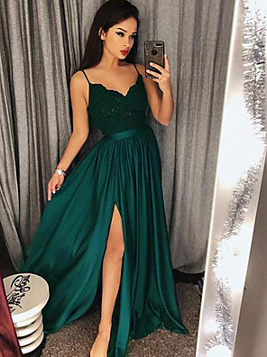 cheap Prom Dresses-A-Line Sexy Green Prom Formal Evening Dress Spaghetti Strap Sleeveless Sweep / Brush Train Satin with Split Appliques 2020