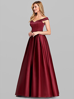 cheap Prom Dresses-A-Line Elegant & Luxurious Prom Formal Evening Dress Off Shoulder Short Sleeve Floor Length Stretch Satin with Pleats 2020