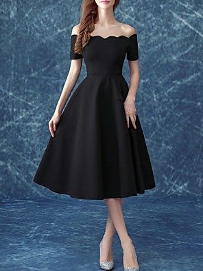 cheap Free Shipping-Back To School A-Line Little Black Dress Holiday Cocktail Party Dress Off Shoulder Short Sleeve Tea Length Satin with 2020 Hoco Dress