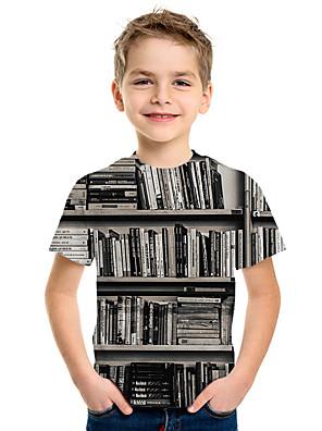cheap Boys' Tops-Kids Boys' Basic Print 3D Short Sleeve Tee Black