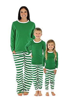 cheap Girls' Dresses-Family Look Striped Christmas Clothing Set Green