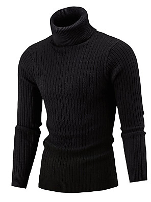 cheap Men's Sweaters & Cardigans-Men's Color Block Pullover Long Sleeve Skinny Sweater Cardigans Turtleneck Winter Wine White Black