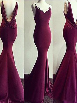 cheap Bridesmaid Dresses-Mermaid / Trumpet Elegant Open Back Formal Evening Dress Spaghetti Strap Sleeveless Sweep / Brush Train Spandex with 2020