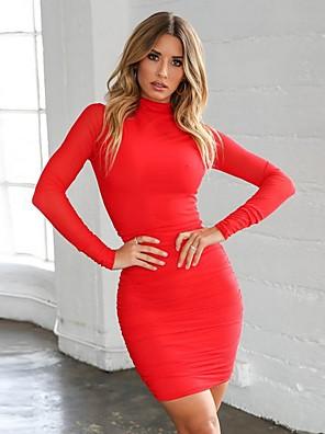 cheap Mini Dresses-Women's Mini Bodycon Dress - Long Sleeve Solid Colored Crew Neck Slim White Black Red S M L XL