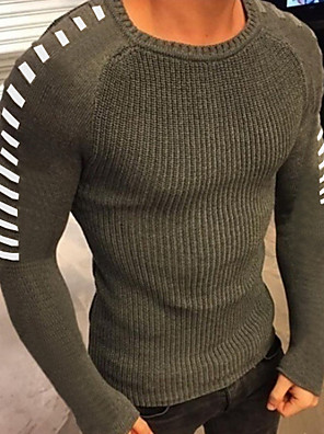 cheap Men's Jackets & Coats-Men's Solid Colored Long Sleeve Pullover Sweater Jumper, Round Neck Black / White / Army Green US34 / UK34 / EU42 / US36 / UK36 / EU44 / US38 / UK38 / EU46