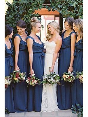 cheap Bridesmaid Dresses-A-Line V Neck Floor Length Chiffon Bridesmaid Dress with Sash / Ribbon / Ruffles