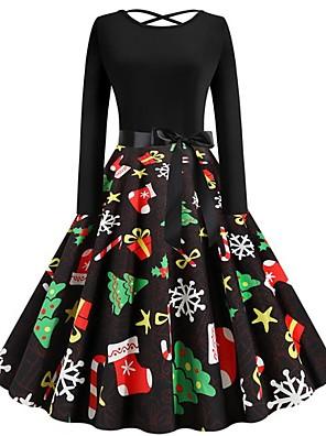 baratos Vestidos de Mulher-Mulheres Vestido A-Line Mini Vestido - Manga Longa Geométrica Natal Festa Preto S M L XL XXL