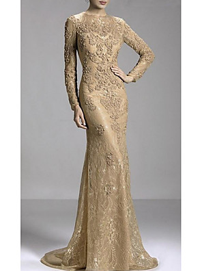 cheap Prom Dresses-Mermaid / Trumpet Luxurious Gold Engagement Formal Evening Dress Jewel Neck Long Sleeve Sweep / Brush Train Lace with Beading Appliques 2020