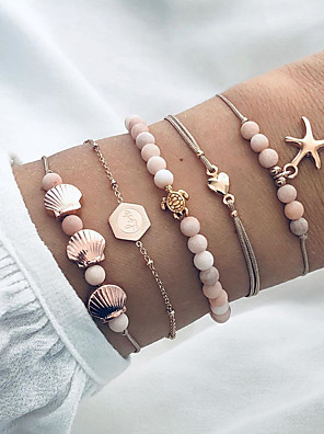 cheap Quartz Watches-5pcs Women's Bead Bracelet Vintage Bracelet Earrings / Bracelet Layered Star Turtle Starfish Classic Vintage Trendy Fashion Cute Cord Bracelet Jewelry Gold For Gift Daily School Holiday Festival