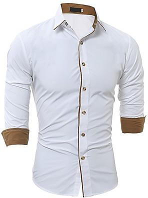 Недорогие Мужские рубашки-Муж. Рубашка Однотонный Длинный рукав Верхушки Белый Черный Серый