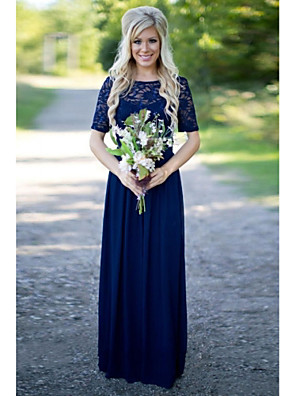 cheap Bridesmaid Dresses-A-Line Jewel Neck Floor Length Chiffon / Lace Bridesmaid Dress with Sash / Ribbon