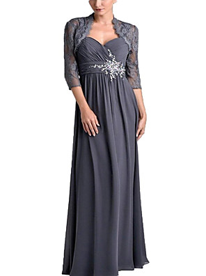 cheap Evening Dresses-A-Line Mother of the Bride Dress Wrap Included Sweetheart Neckline Floor Length Chiffon Lace 3/4 Length Sleeve with Lace Beading Appliques 2020