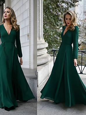 cheap Bridesmaid Dresses-A-Line Elegant Formal Evening Dress Plunging Neck Sleeveless Floor Length Chiffon with Sash / Ribbon 2020