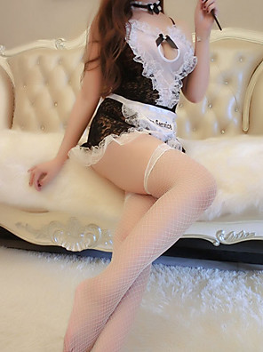 cheap Suits-Women's Lace / Backless / Cut Out Uniforms & Cheongsams / Suits Nightwear Jacquard / Solid Colored Black One-Size
