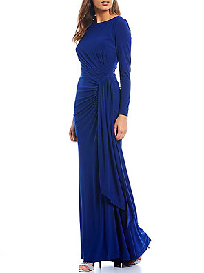 cheap Mother of the Bride Dresses-Sheath / Column Mother of the Bride Dress Elegant & Luxurious Jewel Neck Floor Length Spandex Long Sleeve with Ruching 2020