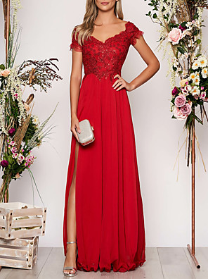 cheap Prom Dresses-A-Line Empire Red Prom Formal Evening Dress V Neck Short Sleeve Floor Length Chiffon with Sequin Appliques Split Front 2020