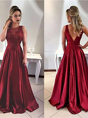 cheap Prom Dresses-A-Line Sexy Red Engagement Formal Evening Dress Jewel Neck Sleeveless Sweep / Brush Train Satin with Appliques 2020