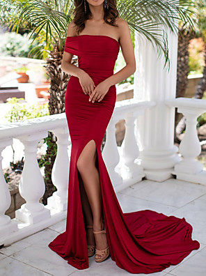 cheap Evening Dresses-Mermaid / Trumpet Sexy Red Engagement Formal Evening Dress Off Shoulder Sleeveless Court Train Polyester with Split 2020