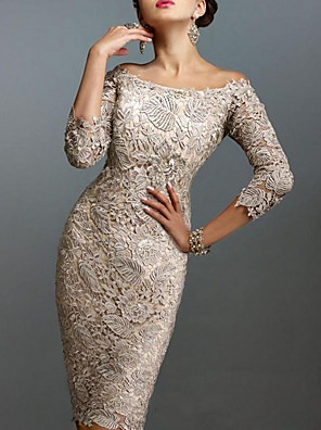 cheap Cocktail Dresses-Sheath / Column Elegant Holiday Cocktail Party Dress Off Shoulder 3/4 Length Sleeve Knee Length Lace with Lace 2020