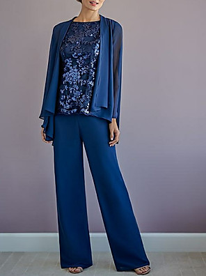cheap Free Shipping-Pantsuit / Jumpsuit Mother of the Bride Dress Wrap Included Jewel Neck Floor Length Chiffon Long Sleeve with Appliques 2020
