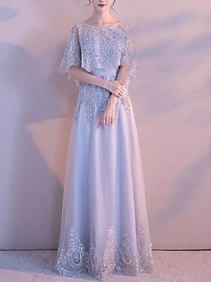 cheap Evening Dresses-A-Line Elegant Grey Engagement Formal Evening Dress Jewel Neck Short Sleeve Floor Length Polyester with Draping Appliques 2020