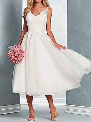 cheap Free Shipping-A-Line Wedding Dresses V Neck Midi Tulle Regular Straps with Bow(s) Lace Insert 2020