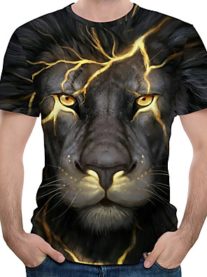 お買い得  メンズTシャツ&タンクトップ-男性用 プラスサイズ Tシャツ グラフィック 動物 プリント 半袖 トップの ストリートファッション 誇張された ラウンドネック ブラック ブルー パープル / 夏