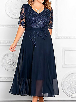 cheap Cocktail Dresses-A-Line Mother of the Bride Dress Elegant Plus Size V Neck Ankle Length Chiffon Sequined Half Sleeve with Appliques 2020