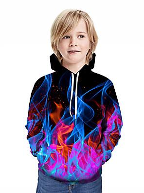 povoljno Majice s kapuljačama i trenirke za dječake-Djeca Dječaci Aktivan Ulični šik Geometrijski oblici 3D Kolaž Print Dugih rukava Trenirka s kapuljačom Duga