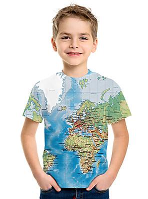 cheap Boys' Tops-Kids Boys' Basic Print 3D Short Sleeve Tee Blue