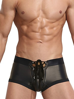 cheap Men's Exotic Underwear-Men's Print Boxers Underwear Mid Waist Black Gold Silver M L XL