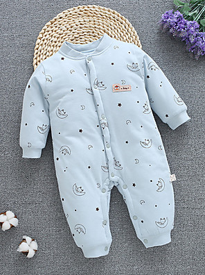 cheap Baby Girls' One-Piece-Baby Girls' Active Print Long Sleeve Cotton Overall & Jumpsuit Light Blue